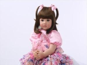新作リボーンドール ピンク花柄ドレス プリンセスドール トドラー人形 赤ちゃん人形 ベビードール 綿&シリコン