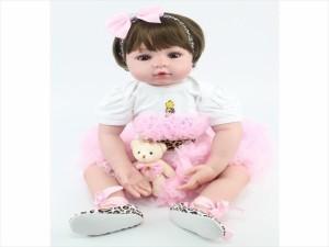 リボーンドール ショート髪 女の子 プリンセスドール トドラー人形 赤ちゃん人形 リアル 衣装付き 綿シリコン55cm