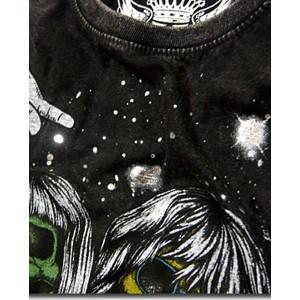 半袖 Tシャツ カットソー トップス メンズファッション グランジロック 炸裂 ハードウォッシュ加工 スカルロック ミュージシャン 父の日