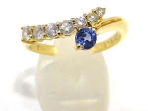 【JEWELRY】リング 指輪 K18 YG イエローゴールド サファイヤ 0.18ct ダイヤモンド 0.21ct 仕上げ済み