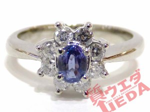 【JEWELRY】指輪 リング #8.5 Pt900 プラチナ アレキサンドライト 0.22ct ダイヤモンド 0.26ct 仕上げ済