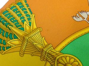 【HERMES】エルメス カレ90 スカーフ HARNAIS FRANCAIS グリーン 馬柄 シルク100%【中古】