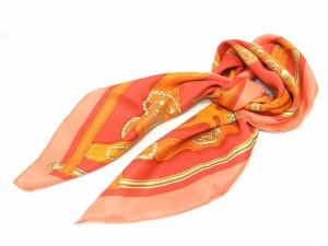 【HERMES】エルメス カレ70 スカーフ HARNAIS DES PRESIDENTS(大統領の馬具)レッド ピンク オレンジ シルク100%【中古】