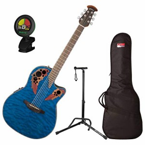 オベーションOvation CE44P-8TQ Celebrity Elite Plus Mid-Depth Transparent Blue Quilt A/E Guitar with Gig