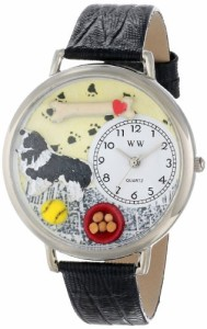 【当店1年保証】気まぐれな腕時計Whimsical Watches Unisex U0130028 Border Collie Black Skin Lea