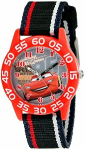 【当店1年保証】ディズニーDisney Kids' W001954 Cars Analog Watch With Striped Nylon Band