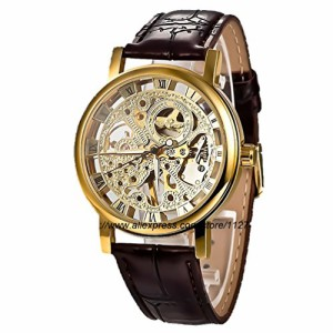 【当店1年保証】スチームパンクGuTe Golden Steampunk Hand-wind Mechanical Watch Ladies Skeleton