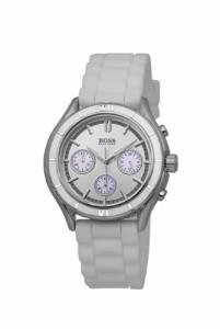 【当店1年保証】ヒューゴボスHugo Boss Chronograph Silver Dial White Silicone Unisex Watch 150222