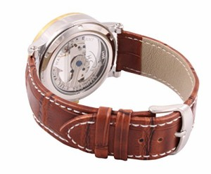 【当店1年保証】スチームパンクMens Mechanical Watch Steampunk Skeleton Dial Brown Leather Band