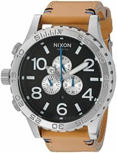【当店1年保証】ニクソンNixon Men's '51-30 Chrono' Quartz Leather Watch, Color:Beige (Model: A1242