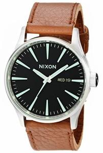 【当店1年保証】ニクソンNixon Men's A1051037 Sentry Stainless Steel Watch with Tan Leather Band