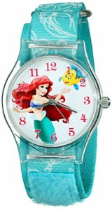【当店1年保証】ディズニーDisney Kids' W001700 Ariel Watch with Printed Blue Nylon Band