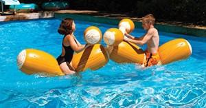 フロートWater Sports Inflatable Swimming Pool Log Flume Joust with Boppers Game Set