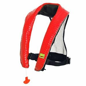 フロートEyson Inflatable Life Jacket Inflatable Life Vest Deluxe leather PFD Manual (Red)