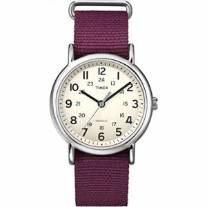 【当店1年保証】タイメックスTimex Unisex T2P235 Weekender Maroon Nylon Slip-Thru Strap Watch
