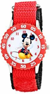【当店1年保証】ディズニーDisney Kids' W001912 Mickey Mouse Analog Watch With Red Strap