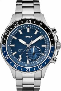 【当店1年保証】タイメックスTimex Men's TW2R39700 IQ+ Move Multi-Time Silver-Tone/Blue Stainless