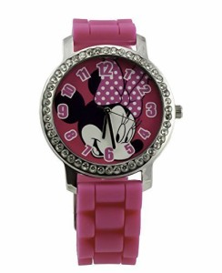 【当店1年保証】ディズニーMinnie Watch with Rhinestones & Ribbed Band in Window Box