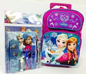 """アナと雪の女王Disney Let It Go Frozen 16"""" Roller Backpack and Stationery Set"""