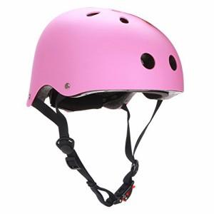 ヘルメットCPSC Skateboarding Helmet with Adjuster for Kids,Child,Youth,Adults,Matte Pink,S