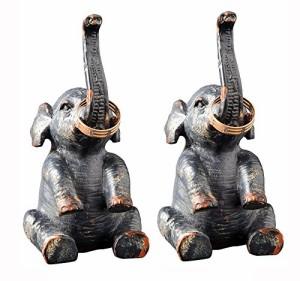 アクセサリスタンドCreative Co-Op Pewter Elephant Ring Holder Set of Two 4.25 Inches Tall by 2.5 Inche