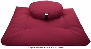 ヨガHEMP CRANBERRY Oval Zafu + Zabuton Meditation Cushion Set - Organic Buckwheat Fill - Made in USA
