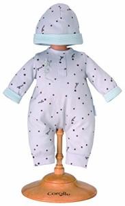 """コロールCorolle 14"""" Grey Star Baby Doll Pajamas and Cap"""