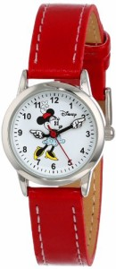【当店1年保証】ディズニーDisney Women's MN1023 Minnie Mouse White Dial Red Strap Watch