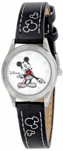 【当店1年保証】ディズニーDisney Women's MK1006 Mickey Mouse White Dial Black Strap Watch