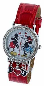 【当店1年保証】ディズニーDisney Watch Mickey & Minnie holding Hand & Kissing With Red Band