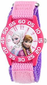 【当店1年保証】ディズニーDisney Kids' W001790 Frozen Elsa and Anna Watch, Pink Nylon Band