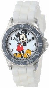 【当店1年保証】ディズニーDisney Kids' MK1240 Silver-Tone Watch with White Rubber Band