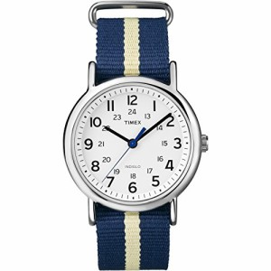 【当店1年保証】タイメックスTimex Unisex T2P142 Weekender Blue/Yellow Stripe Nylon Slip-Thru Str