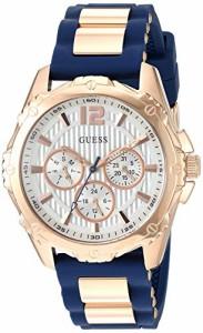 【当店1年保証】ゲスGUESS Women's Stainless Steel Silicone Casual Watch, Color: Rose Gold-Tone/Navy