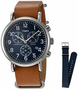 【当店1年保証】タイメックスTimex Unisex TWG012800 Weekender Chrono Tan Leather Strap Watch Gift