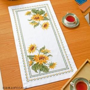 オリムパス クロス・ステッチししゅうキット 美しい花たち テーブルセンター サンフラワー 1196 白