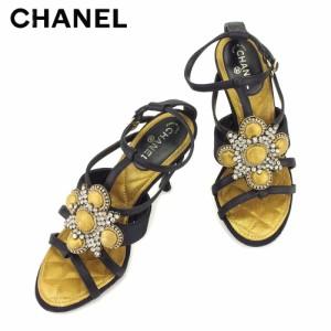 8cc2cf6d1953 シャネル CHANEL サンダル シューズ 靴 レディース ビジュー 【中古】 T8632