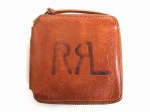370ca712c665 ダブルアールエル RRL タンブルドレザー ジップ ウォレット 財布 ロゴ ブラウン 茶 メンズ