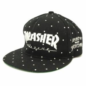 【中古】スラッシャー THRASHER MAGAZINE キャップ スナップバック ドット ロゴ 黒 ブラック 白 ホワイト 帽子 ■SM