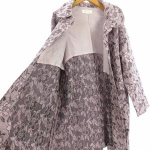 トモココットンハウス TOMOKO COTTON HOUSE コート ステンカラー ミドル丈 花柄 ジャガード ピンク F アウター レディース