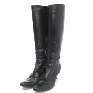セオリーリュクス theory luxe ロング ブーツ レザー アーモンドトゥ 黒 ブラック 38 シューズ 靴 レディース ベクトル【中古】