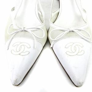 aefb69d3b070 シャネル CHANEL サンダル ポインテッドトゥ レザー ココマーク ストラップ 白 ホワイト 36.5 靴 # ☆AA☆ レディース