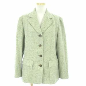 8fbb3aa465b0 ランバン ジャケット テーラード ブレザー 長袖 ネップ ツイード ウール アンゴラ混 緑 グリーン 40 IBS1 レディース ベクトル