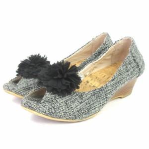 72f8c94c36d4c3 【中古】hina KAGURA パンプス オープントゥ ウエッジソール ツイード 黒 グレー 21.5 シューズ 靴 小さい