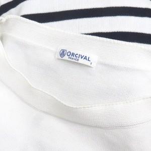 オーチバル ORCIVAL オーシバル ニット セーター ボーダー 五分袖 クルーネック コットン 白 紺 1 170909 レディース ベクトル【中古】