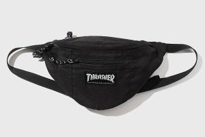 【中古】THRASHER スラッシャー ロゴタグ ウエストポーチ ウエストバッグ ボディバッグ FREE BLACK 黒色/◆ メンズ