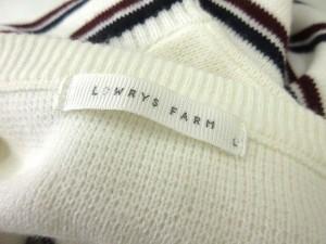 ローリーズファーム LOWRYS FARM ニット 長袖 セーター ボーダー L 白 1129 LEK レディース ベクトル【中古】