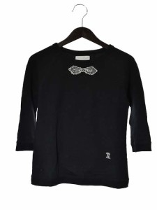 エイス A カットソー 七分袖 リボン ロゴ 刺繍 丸首 黒 170517 レディース