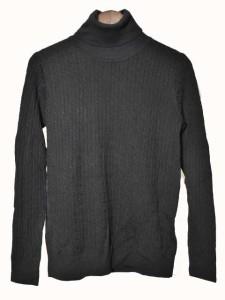 無印良品 良品計画 カットソー ニット セーター 長袖 タートルネック 薄手 ケーブル編み ウール 黒 ブラック M 180223m レディース