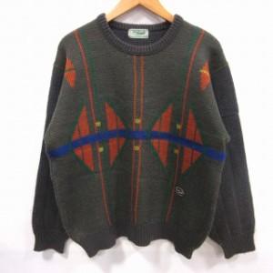 68ac730b5b63 クロコダイル CROCODILE ニット セーター 長袖 総柄 グレー ウール M メンズ